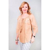 Легкая кремовая блуза из натурального хлопка с декоративными сборками на груди