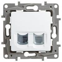 Розетка информационная двойная RJ11 + RJ45 кат. 5e UTP Legrand Etika белая