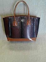 Женская сумка большая, коричневая под рептилию (Турция)