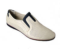 Туфли-мокасины бежевые мужские р 40-45