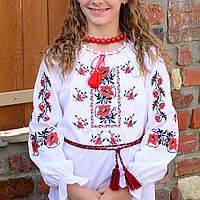 """Украинская сорочка вышиванка для девочки """"Маки"""" с длинным рукавом (лен с хлопком)"""