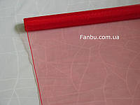 Органза флористическая на метраж,цвет красный (ширина 72см)