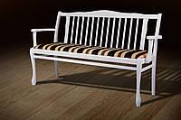 Лавка-Банкетка Версаль белая со спинкой, деревянная
