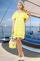 Модное летнее свободное платье из батиста в расцветках, р-ры 42 - 52