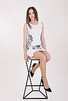 Белое платье с черной растительный вышевкой, фото 1