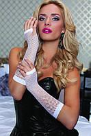 Длинные перчатки в сетку белые