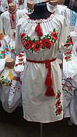 Женское льняное  вышитое платье на короткий рукав.