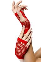 Перчатки в сетку с открытыми пальцами красные