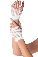 Перчатки в сетку с открытыми пальцами белые