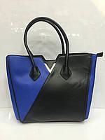 Сумка женская  Milagelin 1678 классическая каркасная черно синий  цвет