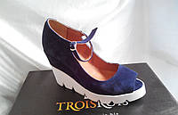 Женские туфли +на танкетке синяя замша