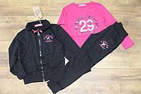 Спортивный костюм- тройка для девочек 4-6 лет цвет: малиновый,черный,серый