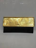 Женский клатч-  конверт 1668 золотисто -черный, плоский