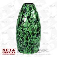 Большая зеленая ваза декоративная керамическая, покрытая натуральным перламутром