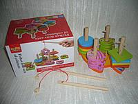 Деревянная игрушка Пирамида-ключик с рыбалкой