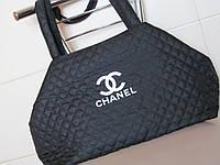 Модная стеганая сумка Шанель из плащевки черная