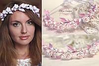"""Веночек для волос с цветами """"Бело-розовый жасмин"""""""