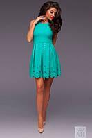 Платье Нарядное трикотажный купон солнцеклёш с перфорацией цвет мята
