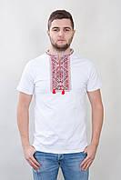 Мужская футболка-вышиванка, национальная одежда, белая,вышивка крестик