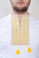 Мужская футболка-вышиванка, национальная одежда, белая