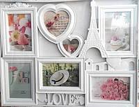 """Фоторамка коллаж """"Париж"""" на 7 фотографий, 40*50 см, белый."""