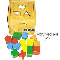 Кубик сортер логический куб логика детская деревянная E21-1147