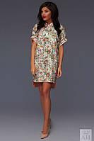 Платье Стильное БАТАЛ ассиметричное цветочный летний принт цвет светлый беж