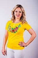 Женская футболка-вышиванка желтая Маки и васельки