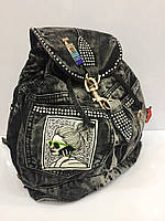 Женская сумка рюкзак 1658 джинсовый черный модный