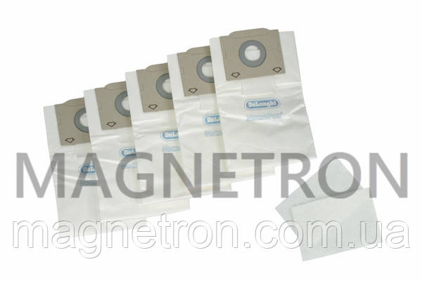 Мешок бумажный (5шт) + микрофильтр (2шт) для пылесосов Delonghi 5591107700