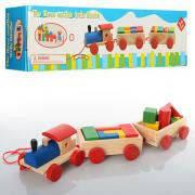 Деревянные игрушки паровозик MD 0710