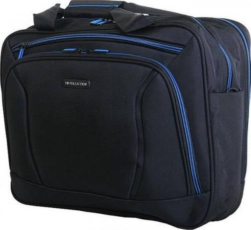 Практичная дорожно-деловая сумка 12 л. VIP COLLECTION Barcelona 16 Navy TF.30.16.navy, черный с синим