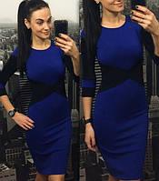 Стильное женское трикотажное платье, синее, Viktoria