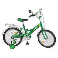 Велосипед PROFI детский 18 д. P 1832 (1шт) зеленый, звонок,приставные колеса