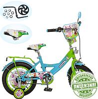 Детский велосипед 12 дюймов Лунтик LT 0050-01 (зелено-голубой)