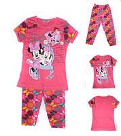Детский трикотажный комплект футболка и бриджи для девочки