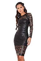 Бандажное платье с перфорированной кожи