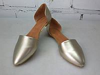 Женские балетки золотая кожа