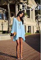 Блузка туника женская шифоновая Голубая