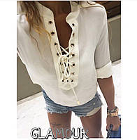 Блузка летняя женская На шнуровке