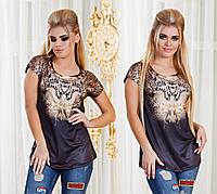 Женская футболка с леопардовым принтом спереди
