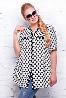 Блуза шифон в горох рубашечного покроя с накладным карманами на груди размеры 54 56 58 60