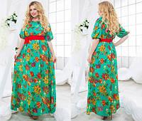 Летнее шифоновое  женское  платье в пол 48+