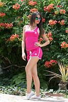 Костюм женский Молодёжный adidas с шортиками ткань х/б цвет малина
