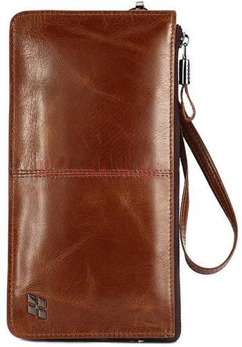 Мужской качественный кожаный клатч Hautton Brown Elegant SZB41C, коричневый