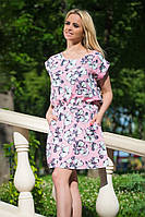 Женское летнее мини-платье в цветочек с резинкой на талии