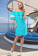 Женское романтичное летнее платье с оборками и кружевом