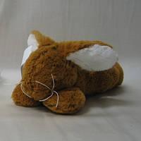 Мягкая игрушка «Nicotoy» (5841935) плюшевый лежащий кролик, 25 см (коричневый с белым)