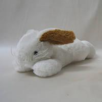 """Мягкая игрушка «Nicotoy» (5841935) плюшевый """"Лежащий кролик"""", 25 см (белый с коричневым)"""