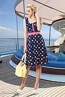 Женское яркое летнее платье в стиле 60-х, в горох